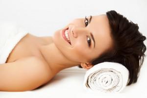 Spa Woman. Beautiful Woman Relaxing in Spa Salon.